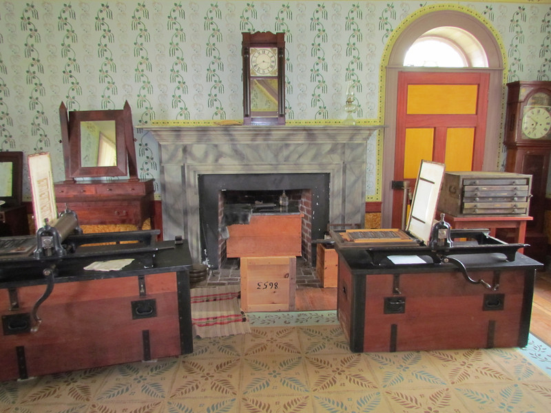 Printing press set up in the Clover Hill Tavern.