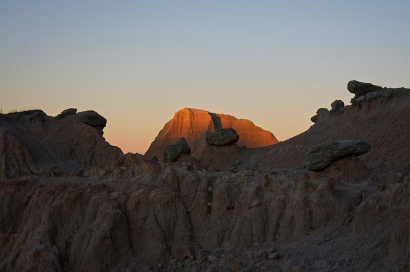 Sunset alpenglow, Badlands, South Dakota.