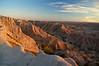 "The day's last light on the ""Pinnacles""; Badlands, South Dakota."
