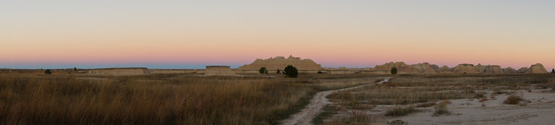 Twilight skyline from the Castle Trail; Badlands, South Dakota.