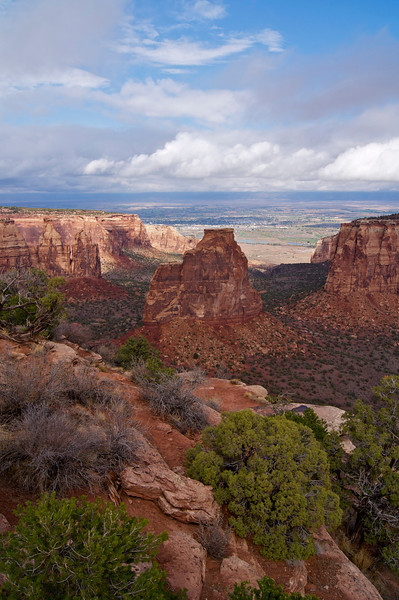 Towering 450 feet above the canyon floor, the Independence Monument presents vastly different profile views; Colorado National Monument.