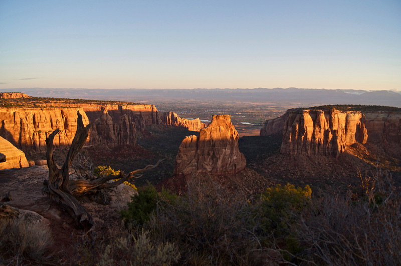 Sunrise over Independence Monument and surrounding cliffs; Colorado National Monument