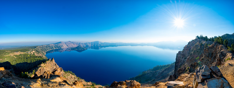 Crater Lake Fish Eye Panorama - Crater Lake