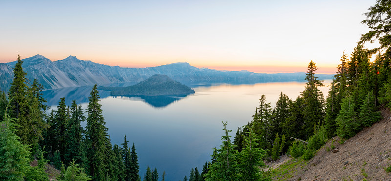 Crater Lake Sunrise Panorama - Crater Lake
