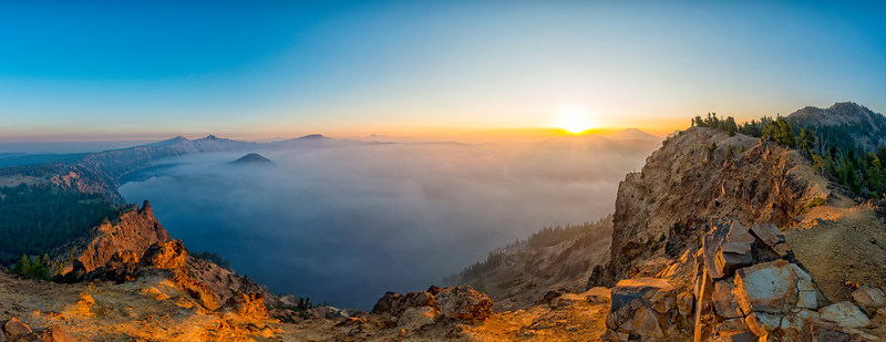 Crater Lake Smokey Sunrise Panorama Fish Eye - Crater Lake