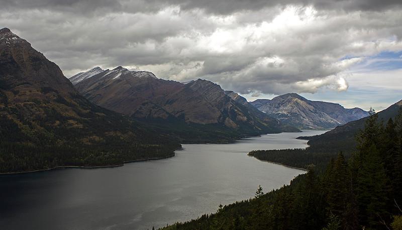 Waterton lake, looking north into Canada.