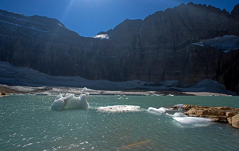 Grinnel Lake. Grinnel glacier in the background.