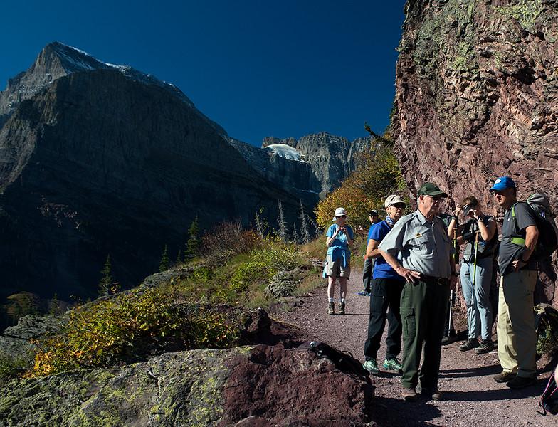 "Ranger Bob on the ""ranger lead hike"" to Grinnel Glacier."