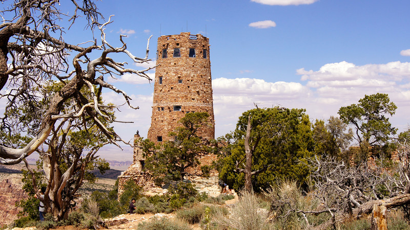 The Desert View Watchtower at the east end of the Grand Canyon, Arizona.