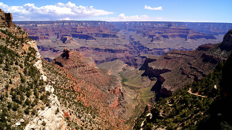 The popular Bright Angel Trail leads deep into the Grand Canyon, Arizona.