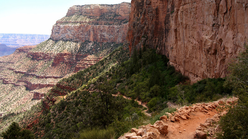 A segment of the the trail winding down the south rim of the Grand Canyon, Arizona.