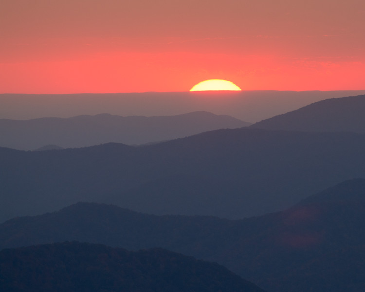 Mountain Ridges Sunset from Clingmans Dome-1