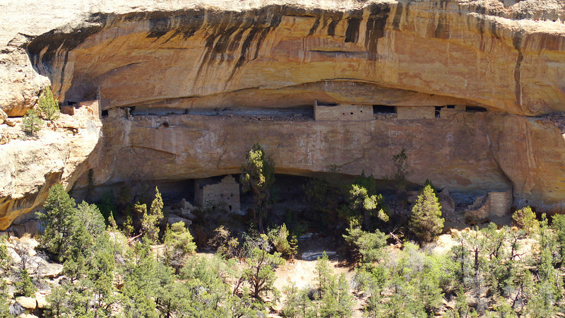 Ruins of the multi-level Sunset House, viewed from across Cliff Canyon, Mesa Verde National Park, Colorado