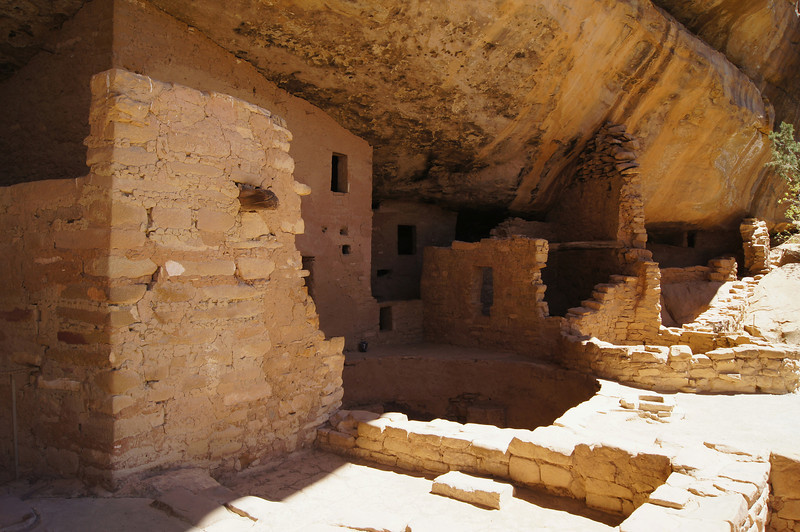 Sun and shadows in the Spruce Tree House, Mesa Verde National Park, Colorado.