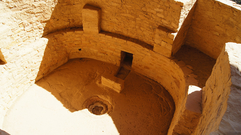 A beautiful kiva with fire pit and vent shafts, Balcony House; Mesa Verde National Park, Colorado.
