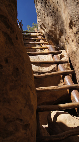 Ladders through a narrow crevasse lead out of the Cliff Palace; Mesa Verde National Park, Colorado.