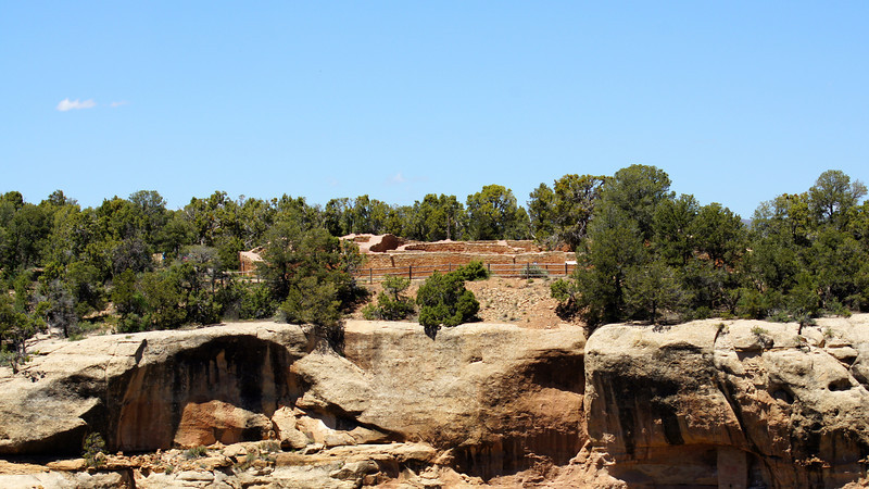 The Sun Temple, viewed from across Cliff Canyon, Mesa Verde National Park, Colorado.