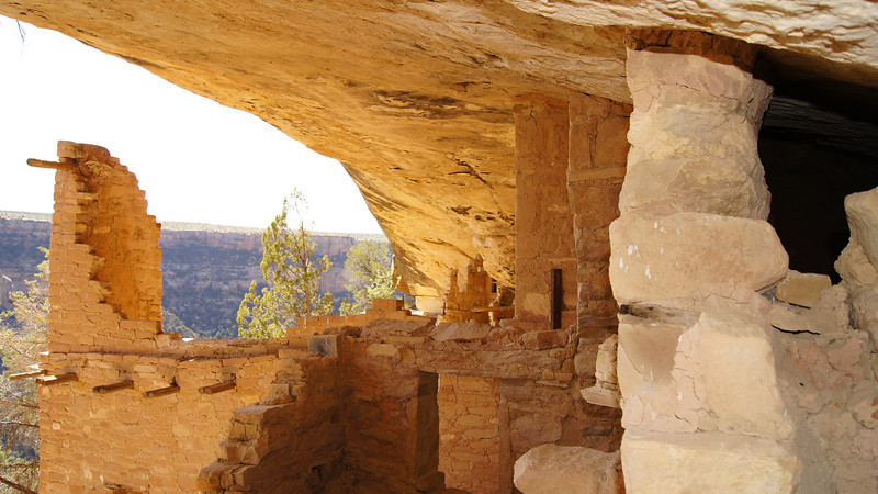 Chambers in the Balcony House overlook the broad canyon; Mesa Verde National Park, Colorado.