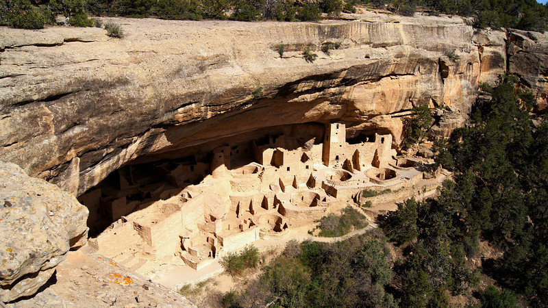 The great Cliff Palace comprises over 150 dwellings. Mesa Verde National Park, Colorado.