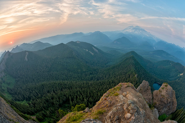 High Rock Lookout Sunset Fish Eye - Mount Rainier-3