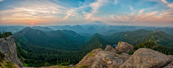 High Rock Lookout Sunset Panorama Fish Eye - Mount Rainier-2