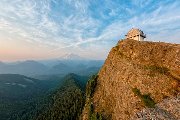 High Rock Lookout Sunset Fish Eye - Mount Rainier