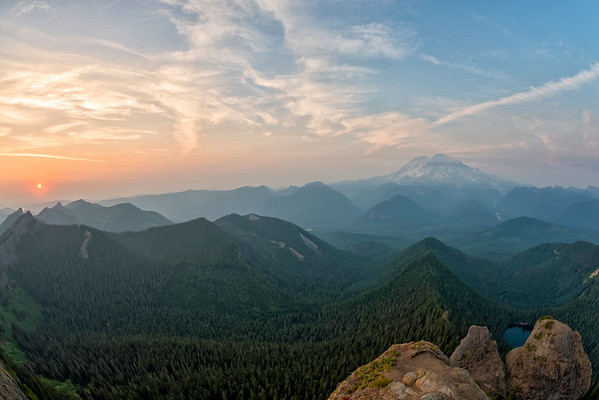 High Rock Lookout Sunset Fish Eye - Mount Rainier-4
