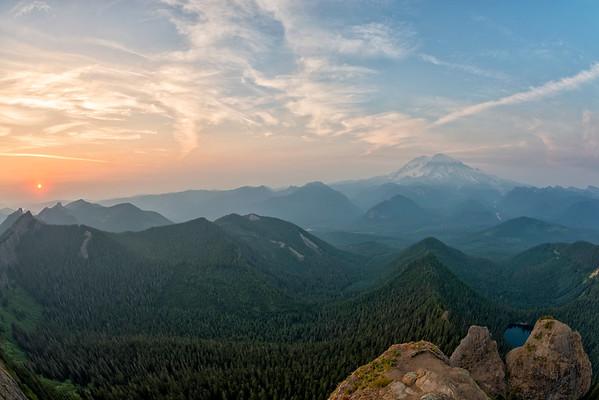 High Rock Lookout Sunset Fish Eye - Mount Rainier-4