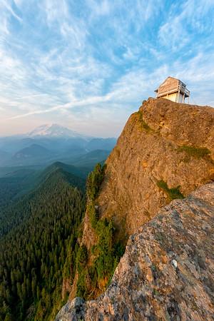 High Rock Lookout Sunset Fish Eye - Mount Rainier-2