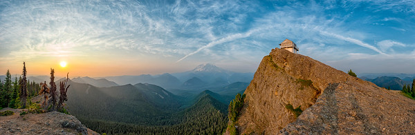 High Rock Lookout Sunset Panorama Fish Eye - Mount Rainier