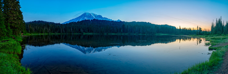 Reflection Lakes Sunrise Blue Hour Panorama - Mount Rainier
