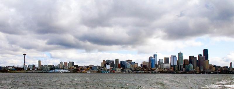 Seattle skyline from Bainbridge Island ferry.   October 2009