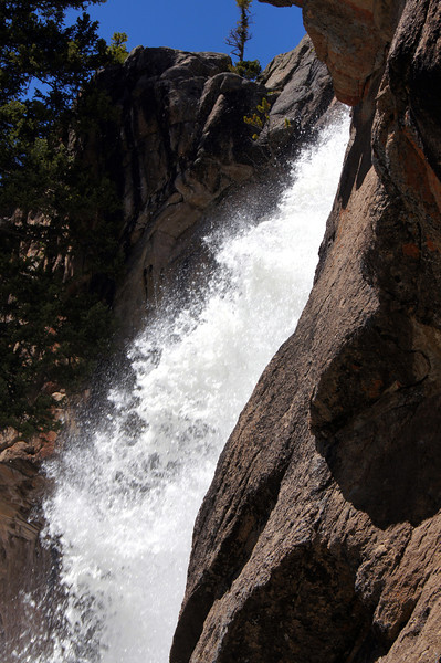 Side view of Ouzel Falls, Rocky Mountain National Park, Colorado.