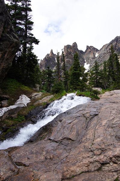 Tyndall Creek rushes over rocks below Emerald Lake; Rocky Mountain National Park, Colorado.