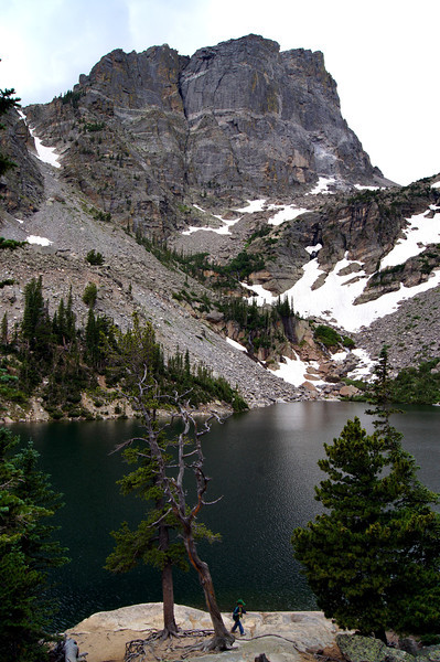 The northeast face of Hallett Peak (12,713 ft.) towers above Emerald Lake (10,080 ft.), Rocky Mountain National Park, Colorado.
