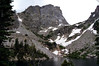 Hallett Peak (12,713 ft.) towers over 2600 ft. above Emerald Lake, Rocky Mountain National Park, Colorado.