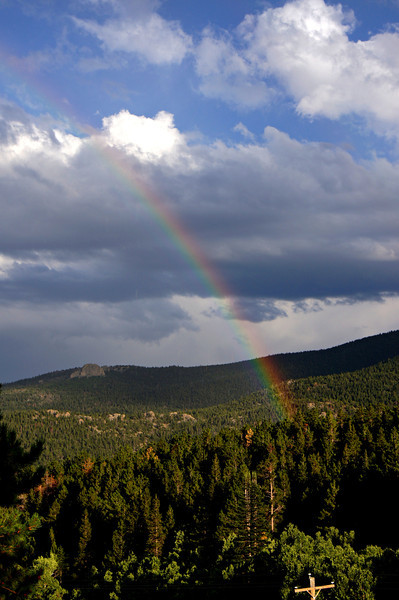 A rainbow at the western border of Rocky Mountain National Park, Colorado.
