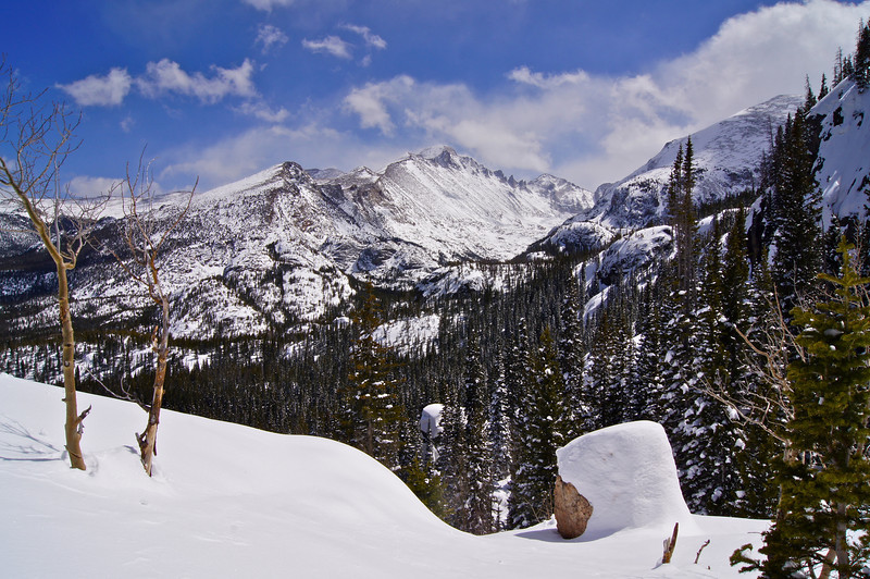 April snowcover in the Longs Peak wilderness, along the Emerald Lake trail; Rocky Mountain National Park, Colorado.