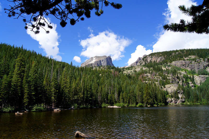 Hallett Peak (12,713 ft.), viewed from Bear Lake; Rocky Mountain National Park, Colorado.
