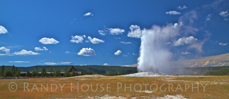 Panorama of Old Faithful errupting while thousands look on.