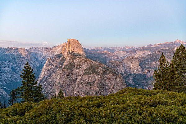 Glacier Point Half Dome Nevada Falls Dusk - Yosemite