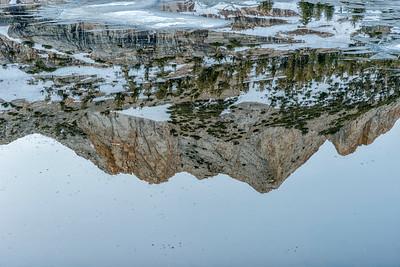 Upper Cathedral Lake Echo Peaks Dawn Reflection - Yosemite