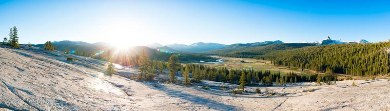Tuolumne Meadows Sunrise from Pothole Dome Panorama - Yosemite