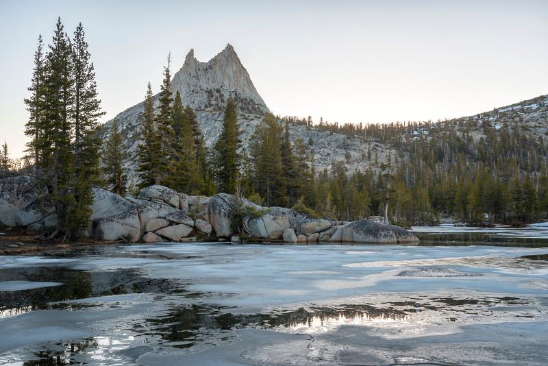 Upper Cathedral Lake Cathedral Peak Dawn Reflection - Yosemite