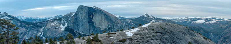 Half Dome and North Dome dawn Panorama - Yosemite
