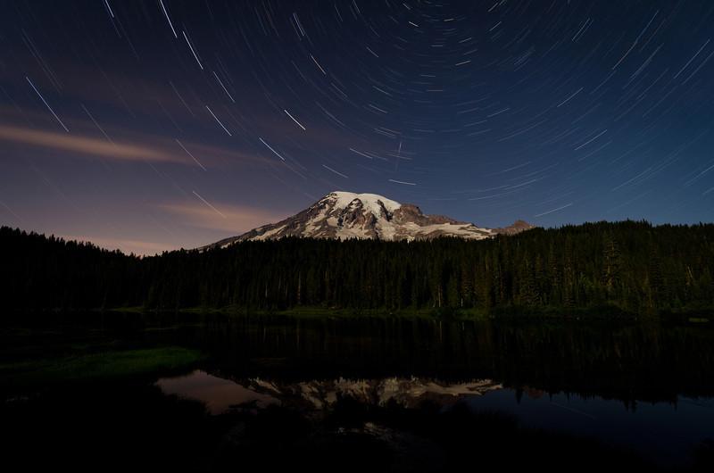 Mt Rainier Star Trails<br /> Reflection Lake