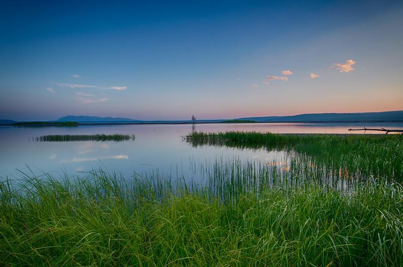 Yellowstone Lake Sunset Reflection