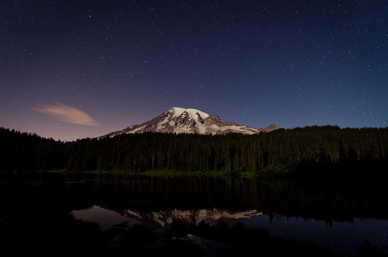 Mt. Rainier Night Reflection<br /> Mt. Rainier National Park