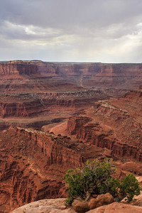 Dead Horse Point State Park. Shafer Trail going up into Canyonlands National Park in the distance.