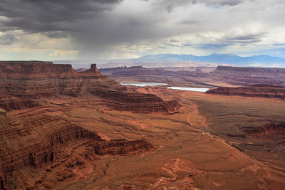 Dead Horse Point State Park. Potash Ponds, Shafer Trail & La Sal Mountains in the distance.